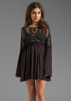 FOR LOVE & LEMONS Isabella Dress in Black - Long Sleeve