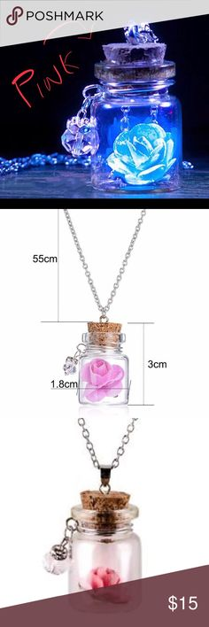 PINK Rose Glow In The Dark Cork Bottle Necklace Rose Glow In The Dark Bottle Necklace  *Mini Cork Bottle with ***PINK*** Rose  *Alloy Adjustable Chain  *Product glows best with at least 30 minutes charging under UV light or Sunlight  *Cute!! Beauty & The Beast/ Fairy/Magical Themed  *Includes Colorful Organza Bag   Thank you for visiting Serene Spirit Studio and have a lovely day! :) Jewelry Necklaces
