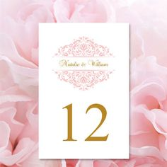 Blush Pink Table Numbers Grace Printable by WeddingTemplates