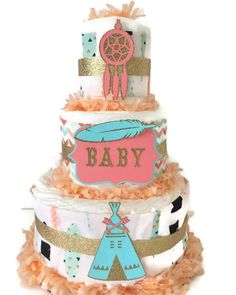 Tribal Baby Shower Diaper Cake in Coral, Mint and Gold, Teepee Theme Baby Shower, Tribal Centerpiece by AllDiaperCakes on Etsy https://www.etsy.com/listing/259728190/tribal-baby-shower-diaper-cake-in-coral