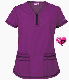 Butter-Soft Scrubs by UA™ Short Sleeve Top w Zipper Trim in Berry Burst - Style # Dental Uniforms, Work Uniforms, Dental Scrubs, Medical Scrubs, Uniform Advantage, Soft Shorts, Church Outfits, Scrub Tops, Autumn Fashion