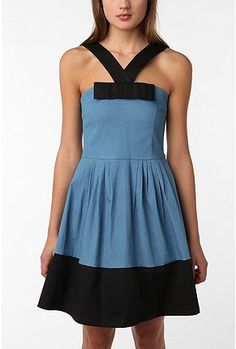Color block dress with full skirt and interesting neckline