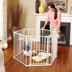 Toddleroo by North States 3 in 1 Metal Superyard: long extra wide baby gate, barrier or play yard. Hardware or freestanding. Portable Play Yard, Wooden Baby Gates, Extra Wide Baby Gate, Best Baby Gates, Baby Barrier, Baby Gate For Stairs, Kids Activity Center, Child Safety Gates, Modern