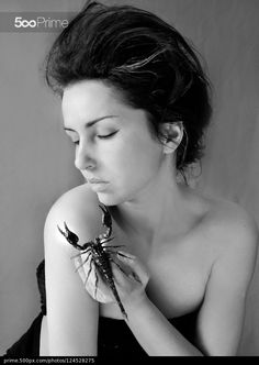 Scorpio by Valentina Kallias Black & White Photography of a Woman holding a Scorpion with bare shoulders, closed eyes and a sad look. Great Photographers, Scorpio, Fine Art Photography, Cool Photos, Amazing Photos, Cool Art, Black And White, Portrait, Beautiful