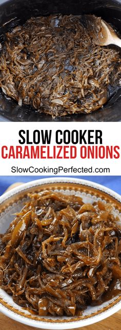 Slow cooker caramelized onions are perfect for so many different dishes. I love to add them to a pizza or use them in a caramelized onion dip. Slow Cooker Brisket, Vegan Slow Cooker, Slow Cooker Recipes, Crockpot Recipes, Cooking Recipes, Slow Cooking, Italian Cooking, Barbecue Recipes, Easy Cooking