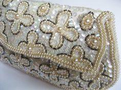 Favorite of the Week!  Ivory Beaded Bridal Clutch - Vintage David's Import