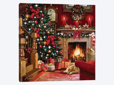 christmas scenes Christmas Room II Canvas Art by The Macneil Studio Christmas Room, Christmas Scenes, Noel Christmas, Vintage Christmas Cards, Victorian Christmas, Christmas Morning, Vintage Cards, Christmas Presents, Christmas Cookies
