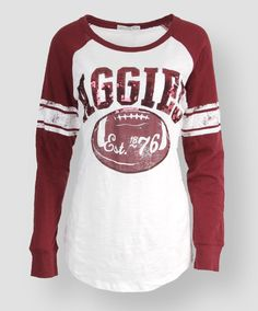 Women's Aggie Football Long Sleeve. #AggieGifts #AggieStyle Aggie Football, Texas A&m, Team Shirts, Jean Outfits, Get Dressed, Passion For Fashion, Shirt Designs, Texans, My Style