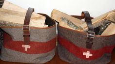 Two Wood Log Bags made from Swiss Army Blankets from Des Alpes filled with logs