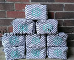 Grey and White Chevron monogrammed Makeup Bags! Perfect Bridesmaid gift!