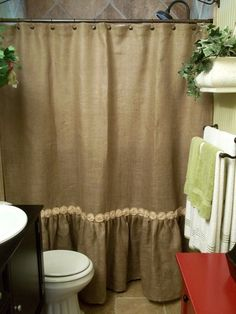 Custom natural burlap shower curtain with ruffle fringe handmade rose trim 72 wide panel country look rustic bathroom decor farmhouse living Burlap Shower Curtains, Bathroom Curtains, Loft Bathroom, Burlap Projects, Burlap Crafts, Cortina Box, Primitive Bathrooms, Country Bathrooms, Shabby Chic