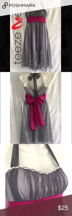 Super fem cocktail dress Teeze Me brand cocktail dress. Beautiful silver & gray color with fuchsia satin bow. Delicate sequin detail at bottom. Teeze Me Dresses