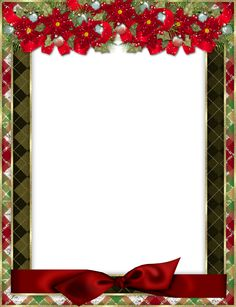 Christmas Photo Frame with Red Bow and Poinsettia