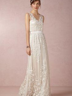 A-line/Princess V-neck Floor-length Chiffon Sleeveless Wedding Dresses - Wedding Dresses
