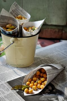 Chana - Indian street food. Chickpeas cooked with chillies, masala and lemon juice.