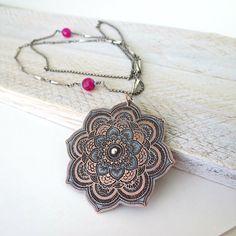 Mandala Lotus pendant necklace, large statement necklace, spiritual necklace, copper jewelry #design #etsymnt