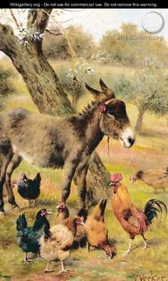 Donkey And Hens In Wooded Landscape - Herbert William Weekes