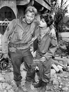 COMBAT - 'The Walking Wounded' - Season One - Army nurse Lt. Ann Hunter (Geraldine Brooks) assisted Sanders (Vic Morrow) in 'The Walking Wounded' episode of ABC's 'Combat'. George Custer, 1960s Tv Shows, Fictional Heroes, Old Shows, Moving Pictures, Old Tv, Classic Tv, Movie Tv, Movie Theater