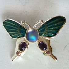 Silver tone enameled BUTTERFLY shape brooch pin with rhinestones and c... Lot 17