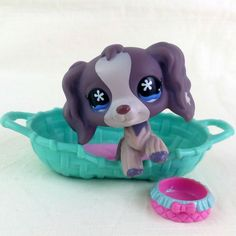 Littlest Pet Shop 672 Cocker Spaniel Dog LPS Figure HASBRO 2006 Grey Blue Flower