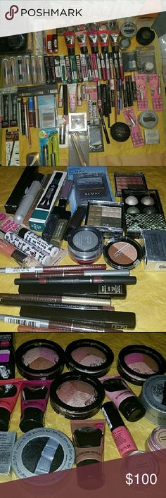Makeup Bundle of 10 and 1 makeup Bag ⚠please read this is for 10  Makeup ItemsOnly  AND  1 Makeup bag ⚠⚠ please message below what makeup items youd like to see and pick out  any 10Makeup items and 1 makeup bag comes with 4makeupsamples All New Sealed Makeup !Various Brands Mostly  Hard Candy For 10 Makeup Items only And 1 Makeup Bag shown in pictures on this  i Have only 1 contour with brush left Makeup