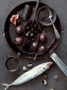 Food photography: figgs, berries and fish | Food. Art + Style. Photography: Food on black by Anna Williams |