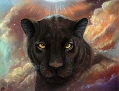 Spirit Walker black panther Universe Nebula 8x10 by MoonSpiralart