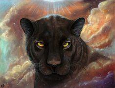Spirit Walker black panther Universe Nebula 8x10 by MoonSpiralart