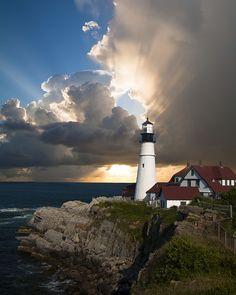 灯台, ビーコン, 光の家, 方向, 日光, 雲, 空, 崖, 海, 地平線, ニュー イングランド