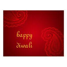 Beautiful Red Paisley Floral Design Happy Diwali Postcard