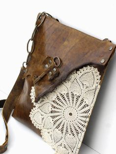 Original Boho Leather Messenger Bag with Crochet Doily and Antique Key - Medium - Made To Order Leather And Lace, Leather Bag, Antique Keys, Vintage Keys, Estilo Hippie, Leather Projects, Boho, Crochet Doilies, Crochet Lace