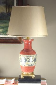 """Speer Collectibles -Rustic ceramic vase with manganese pitting, hand painted in blue on antique white and coral. Fitted with antique gold leaf mounts and a natural shantung shade.  L12255 616  19 x 34"""" h"""