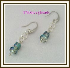 Blue Crystal Minimal Drop Earrings Blue Green by TYsSavvyJewels