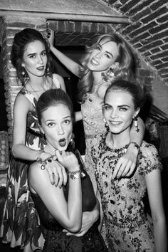 Dolce & Gabbana in Harper's Bazaar US - Jade Williams, Mary Charteris, Cara Delevigne, and Florrie Arnold. Photography by Terry Richardson.