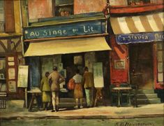 """People gathering around """"The Bookstore"""" by Anthony Heinsbergen, 14x18 Oil on Board"""