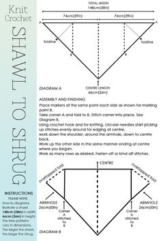 Convertir un chal de pico en un bolero (shawl to shrug)