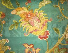 teal jacobean floral