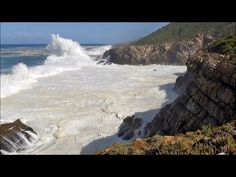 1 hour video of big ocean waves crashing into sea cliffs - HD 1080P - YouTube