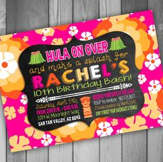 Luau Invitation Luau Birthday Party Pool Party by CLaceyDesign, $15.00