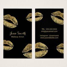 Yoga instructor namaste modern purple gold business card makeup artist gold lips kisses beauty salon business card colourmoves