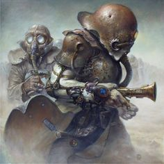 Dariusz Zawadzki is an extremely talented Polish painter. This 55 year-old artist is known for his fascinating universe inspired by the steampunk. His imagination seems boundless. Where he's not painting, he sculpts and he is also very good at it. Discover more works on his DeviantArt.