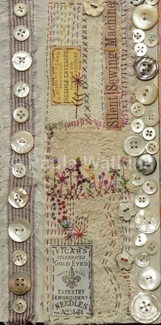 Sewing Vintage Sewing, vintage buttons and ephemera. - altered books and handmade books - embroidery - Sewing, vintage buttons and ephemera. - altered books and handmade books Source by gorfette Fabric Art, Fabric Crafts, Sewing Crafts, Sewing Projects, Fabric Books, Fabric Design, Fabric Glue, Embroidery Art, Embroidery Stitches