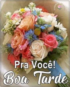 Love You Images, Good Afternoon, Floral Wreath, Portuguese, Pasta, Good Morning Wishes, Flowers, Dressmaking, Floral Crown