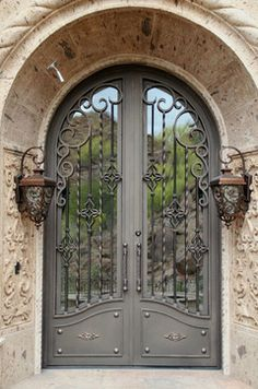 Iron Entry Doors - Mediterranean - Exterior - phoenix - by Colletti Design Iron Doors Cool Doors, Unique Doors, Door Entryway, Entrance Doors, Entryway Ideas, Iron Front Door, Wrought Iron Doors, Door Gate, Iron Gates
