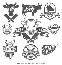 Cow heads icons and butcher tools. Design elements for labels, badges, emblems, signs. Vintage Typography, Typography Logo, Logo Branding, Carta Restaurant, Carnicerias Ideas, Grill Logo, Cow Head, Retro Images, Butcher Shop