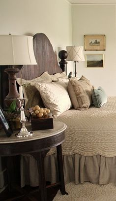 I love this headboard, lamp, the bed linens. Yep, pretty much everything in this bedroom! Bedroom Retreat, Cozy Bedroom, Dream Bedroom, Bedroom Decor, Pretty Bedroom, Bedroom Ideas, Serene Bedroom, Bedroom Setup, Budget Bedroom
