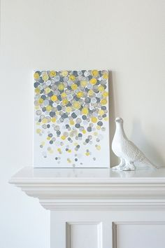 confetti. yellow & grey. acrylic on canvas. Could printing create the same effect? Eg corks.