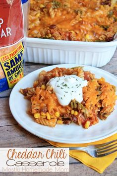 Cheddar Chili Casserole - This yummy dinner casserole is loaded with chili, corn, salsa, and cheddar cheese - enough for a large family, or freeze half for another meal!