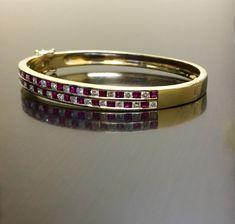 18K Yellow Gold Diamond Ruby Bracelet 18K Gold by DeKaraDesigns