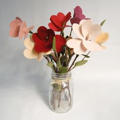 "Great tutorial for ""Felt Forever Fleurs"" with heart-shaped petals at Giant Dwarf (via Craft Gossip)."